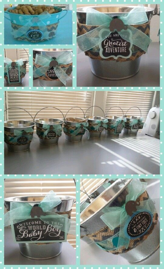 Elephant Theme Baby Shower Centerpiece With Peanuts Inside Bb