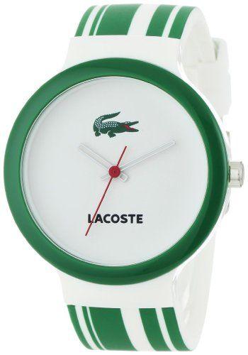 Lacoste Goa White Dial Green And White Polyurethane Strap Unisex Watch 2010538 Http Fashion Designerjewelrygalleria Com Watc Lacoste Saatler Bayan Saatleri
