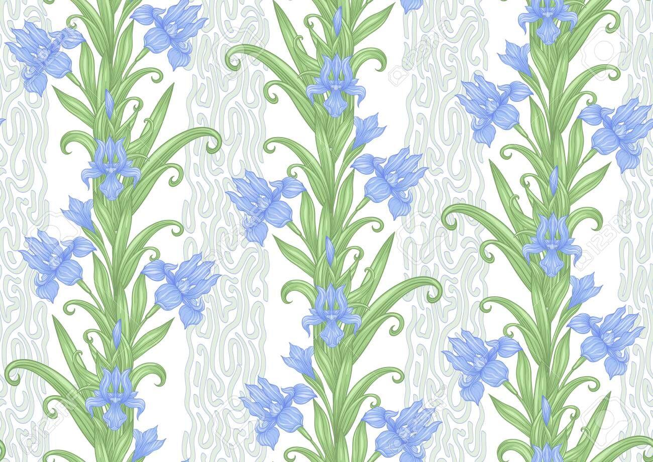 Iris flower, fleurdelis. Seamless pattern, background