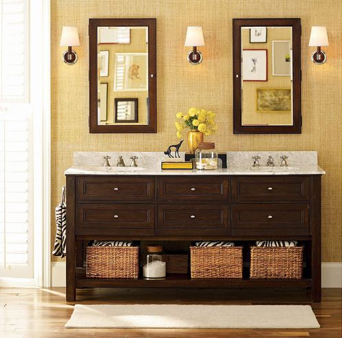 Bathroom design inspiration two mirrors three lights Master