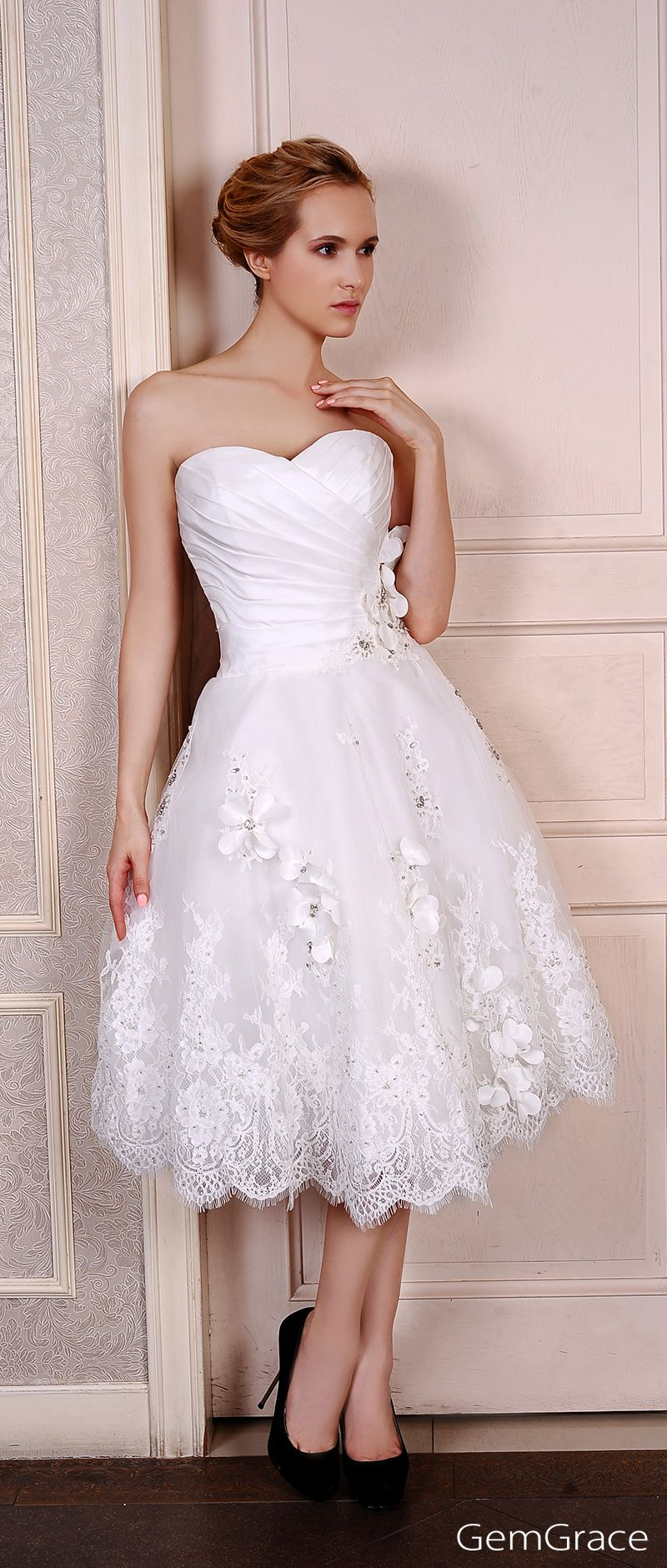 A line sweetheart tea length wedding dresses lace satin tulle style