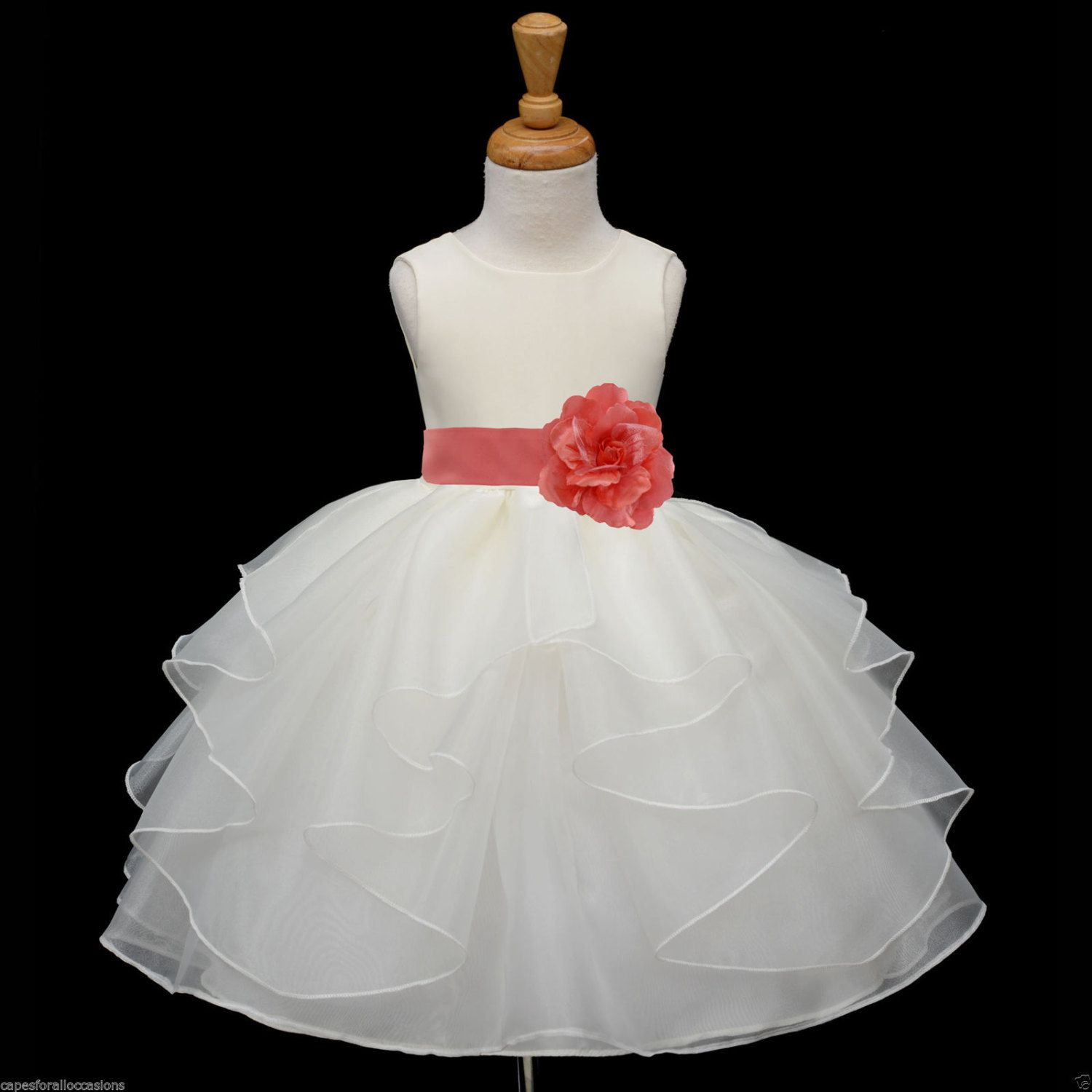 Ivory organza flower girl dress more than sash by kidsdreamsusa