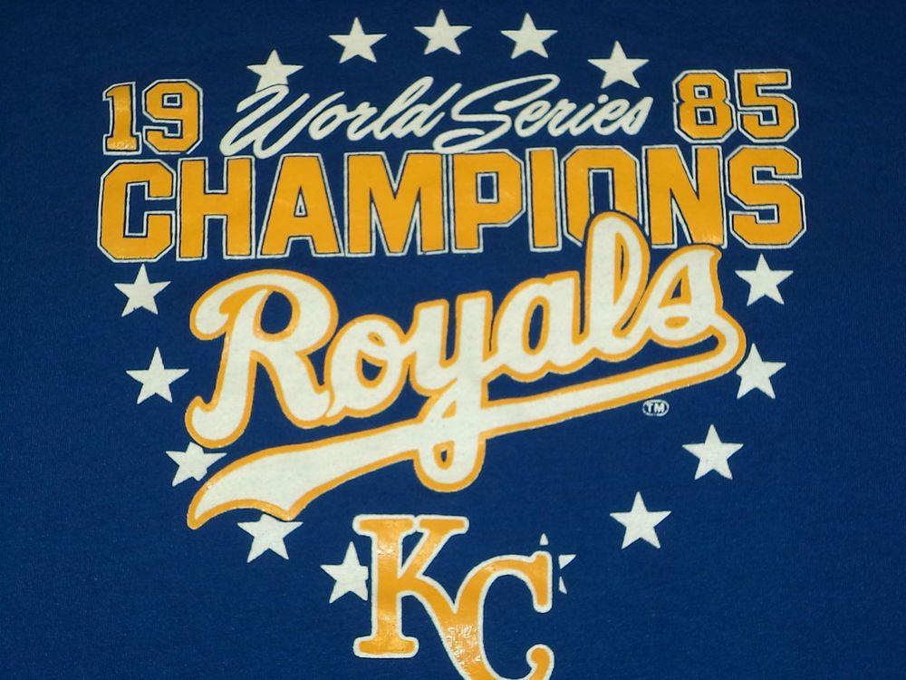 Vtg 1985 KANSAS CITY KC ROYALS World Series Champions Baseball T-Shirt L USA  #KCRoyals