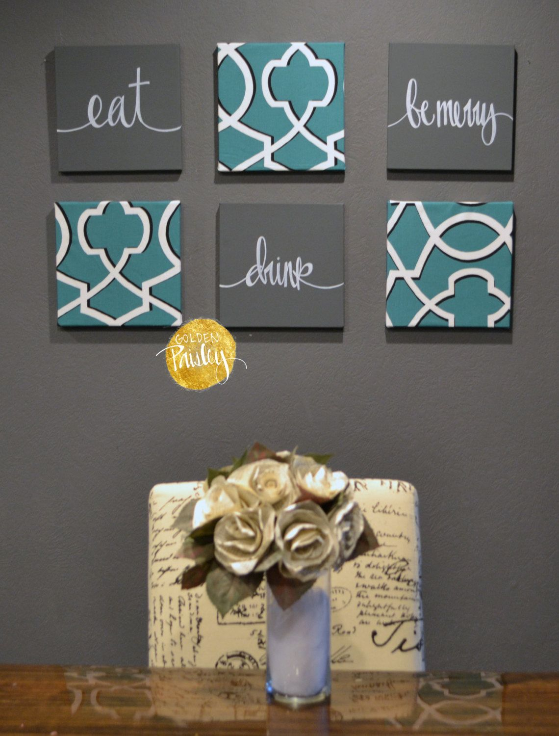 Items Similar To Eat Drink U0026 Be Merry Wall Art Pack Of 6 Canvas Wall  Hangings Painting 6 Canvas Set Dining Room Decor Modern Teal Charcoal Gray  Gallery Wall ...