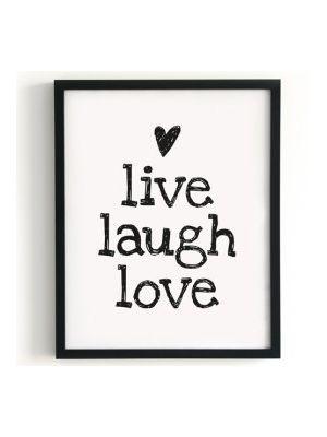 Color Negro Y Blanco Black White `live Laugh Love` Truly Adorable Live Laugh Love Quotes