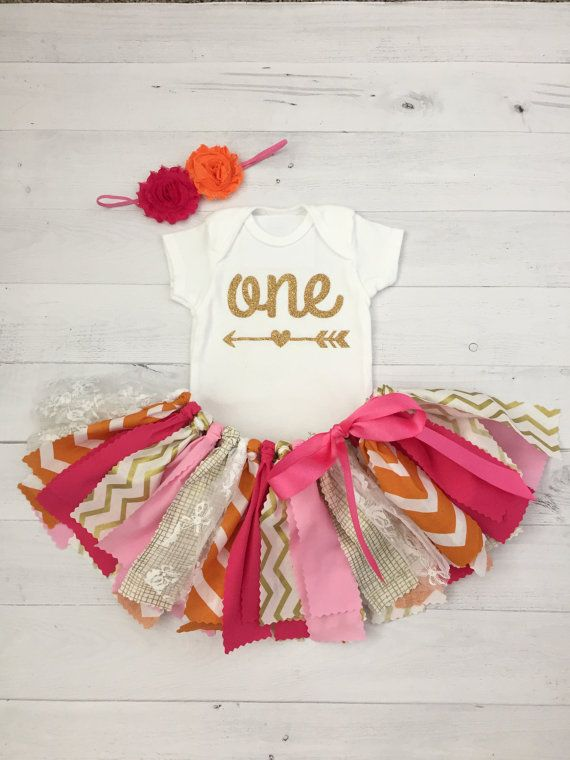Pink Orange and Gold Birthday Outfit with by MeadowsMarvels