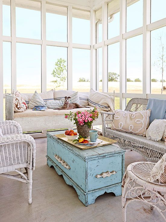 Wicker Furniture, An Antique Day Bed, And A Pretty Blue Trunk Turned Coffee  Table Offer This Screen Porch A Vintage Air. Secret To Pretty: Mixing,u2026