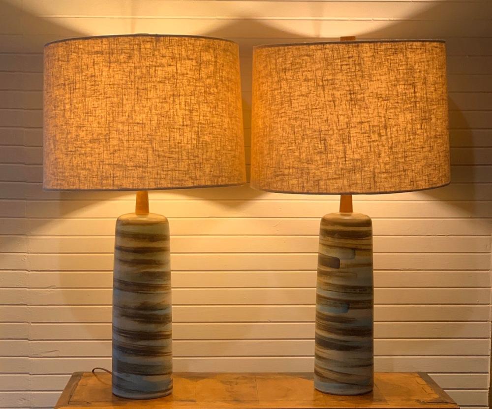 Mid Century Pair Of Jane And Gordon Martz Ceramic Lamps Etsy