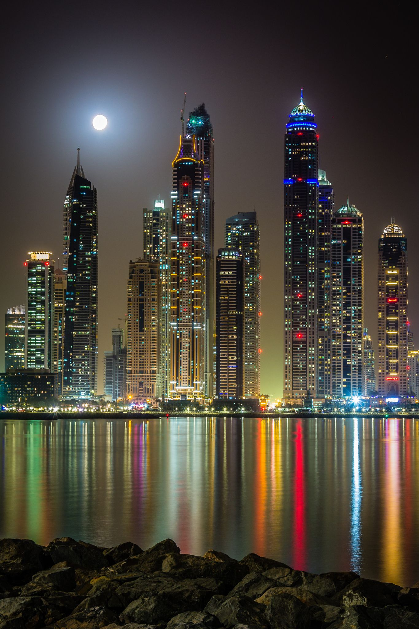 ~~Full Moon | nightscape, view from the Dubai marina | by Björn Witt~~ | City ~ Beyond the Neon ...