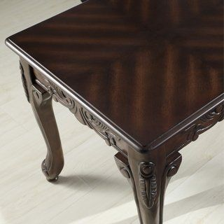 Traditional Ornate Detailing Wood Coffee Table Brown Wood