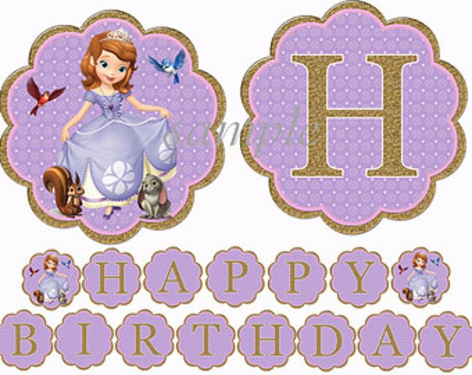 Instant Download Sofia The First Birthday Banner Glitter Look Printable First Birthday Banners Princess Sofia Birthday Party Ideas Princess Sofia The First