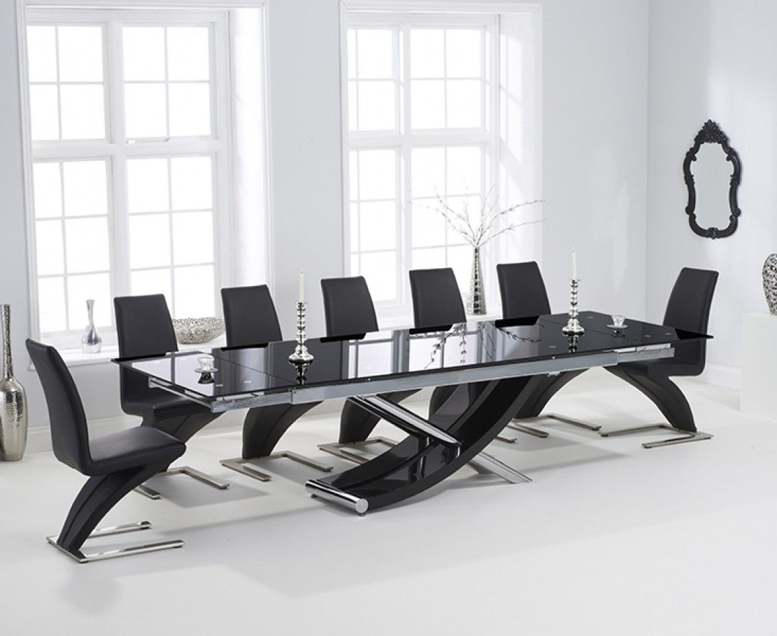 Surprising Hilton 210Cm Extending Black Glass Dining Table With Machost Co Dining Chair Design Ideas Machostcouk