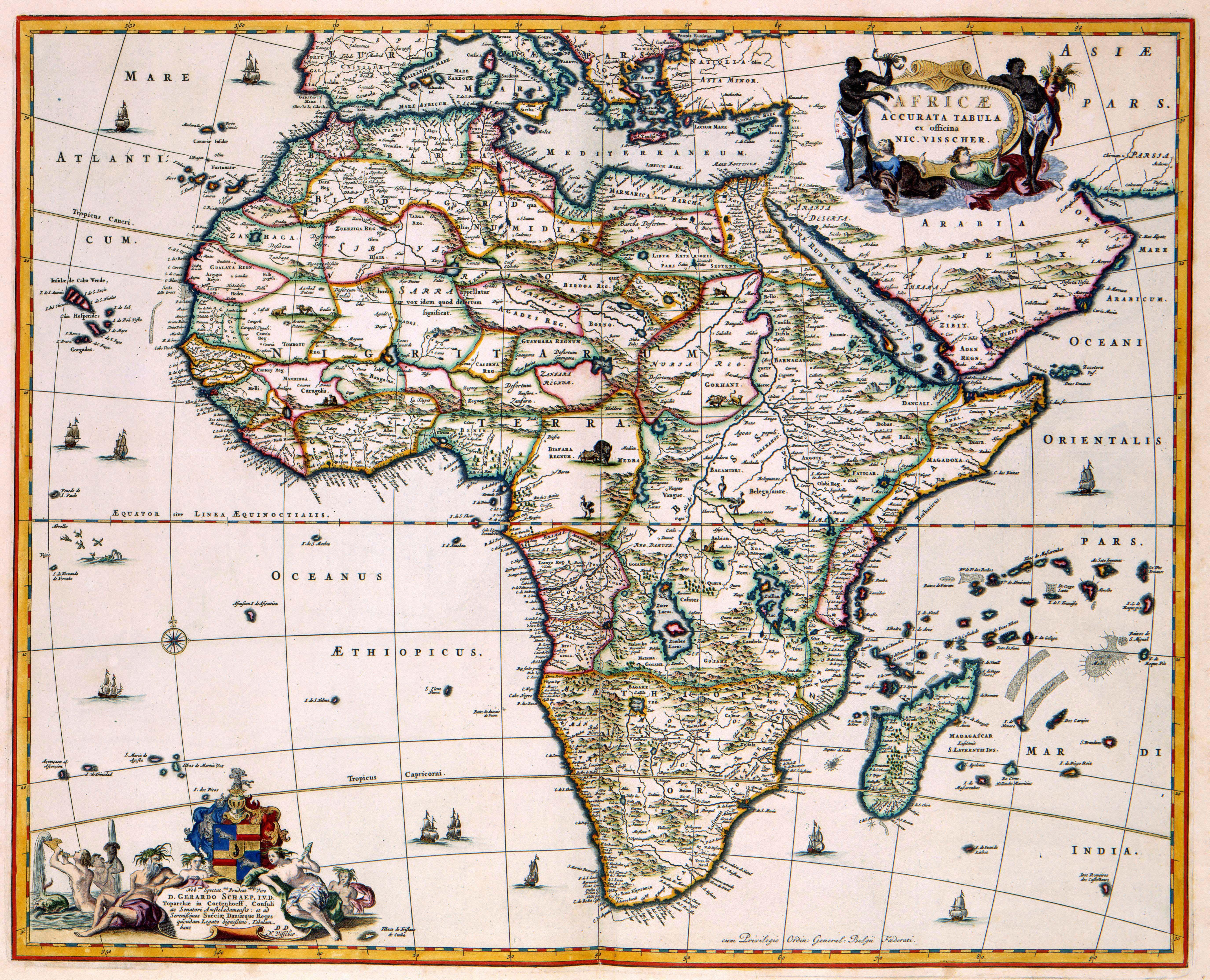 AFRICA    Afgezien van de kustlijnen is deze kaart van Afrika nauwelijks betrouwbaar. Dat is niet alleen kenmerkend voor deze kaart van Nicolaas Visscher II (1649-1702), maar dat geldt voor alle andere kaarten van Afrika die tijdens de 17de en 18de eeuw werden gepubliceerd. Pas in de tweede helft van de 19de eeuw werden de Afrikaanse binnenlanden beetje voor beetje opengelegd.