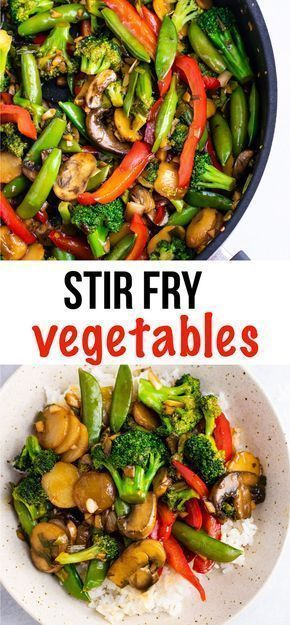 Veggie stir fry recipe – with homemade stir fry sauce. This is amazing and has so much flavor! #stirfryvegetables #stirfry #stirfryrecipe #stirfrysauce #vegetarian #vegan #glutenfree #dinner #dinnerrecipe #vegetablestirfry