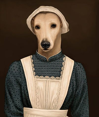 Cats And Dogs As Downton Abbey Characters In Pictures Tiere In Kleidung Hund Illustration Hund Skulptur