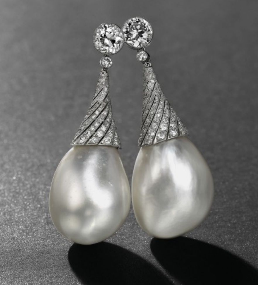 The Two Baroque Dropshaped Salt Water Pearls, Weighing Approximately  26166 And 21637 Grains