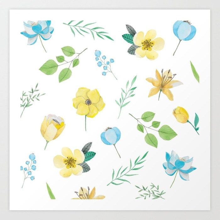 Floral Pattern With Yellow Flowers Art Print By Cimeries