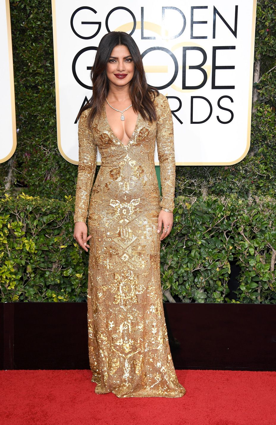 Priyanka Chopra in Ralph Lauren at the 2017 Golden Globes.