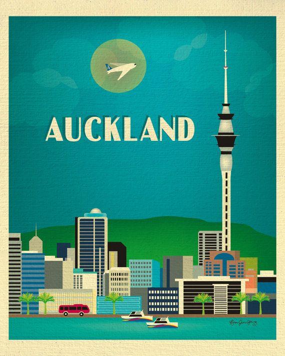 Auckland, New Zealand Skyline - 8 x 10 Vertical Original ...