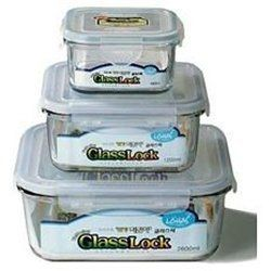 6 Pc. Go Green Glasslock Square Container Set By