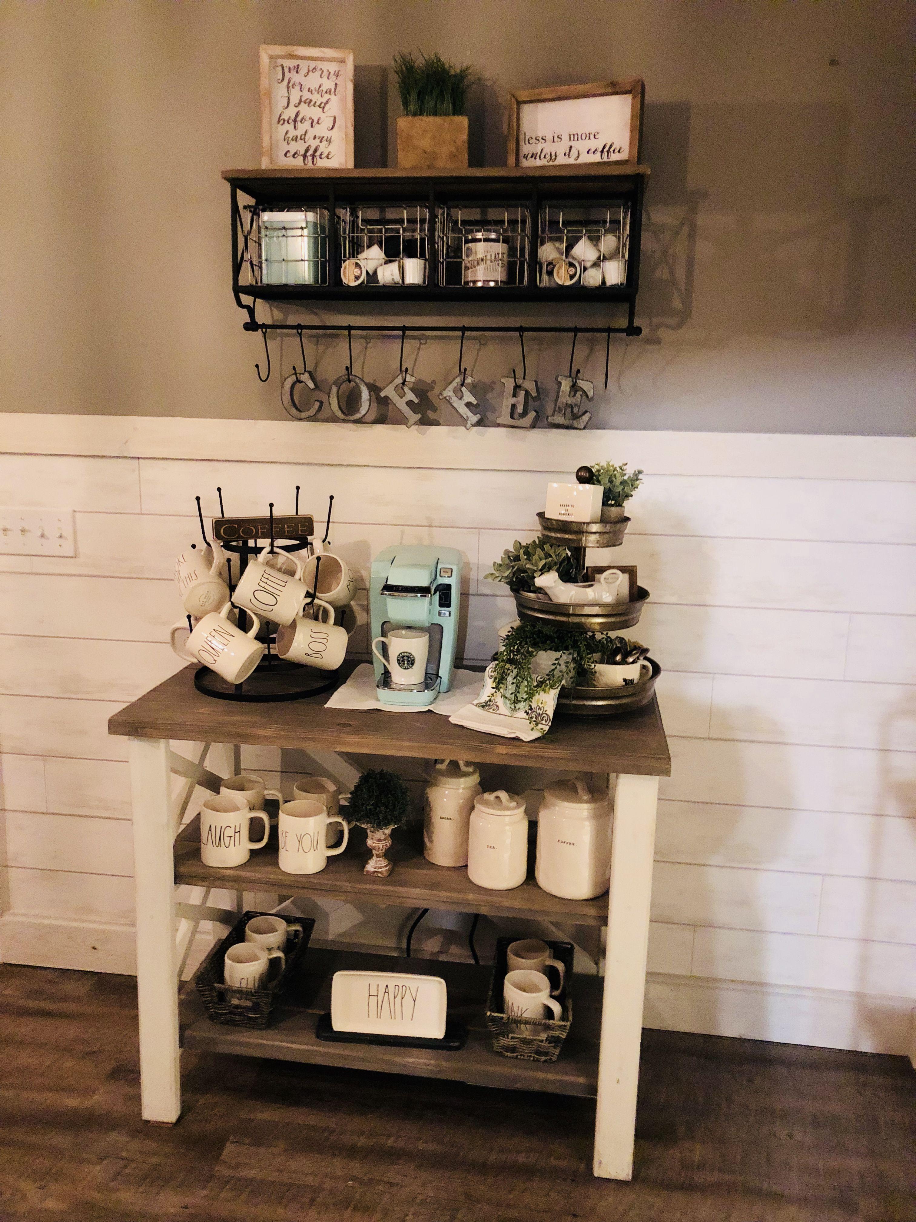 My Rae Dunn coffee bar. Metal and wood decor. Custom built farmhouse ...