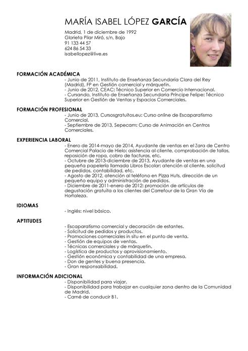 Modelo de Currículum Vítae Ayudante de Ventas | Ayudante de Ventas ...
