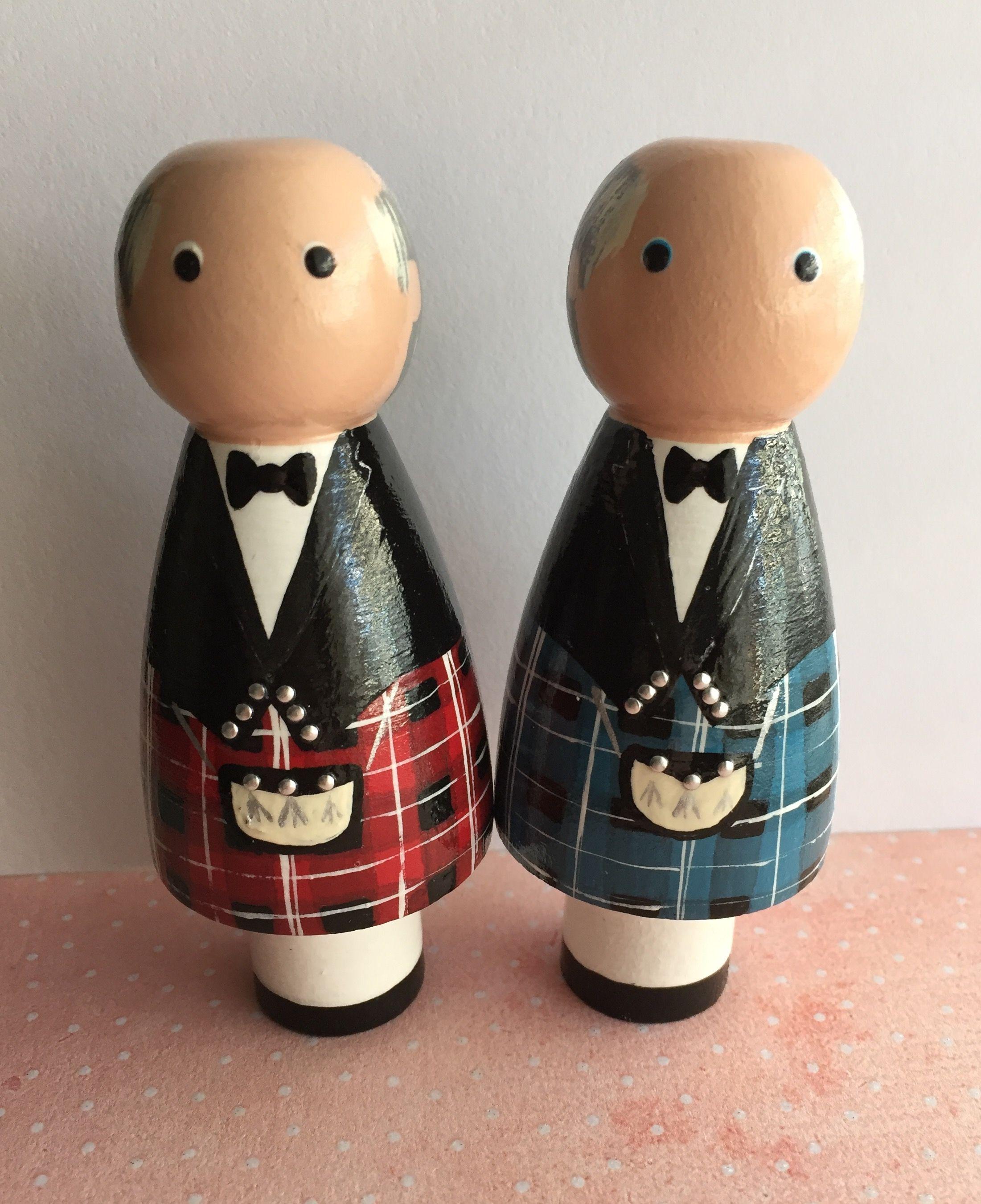 Scottish Kilt Peg Doll Wedding Cake Topper