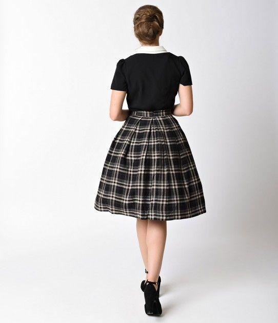 854826a7a3e Retro Style Black   Grey Plaid Cotton High Waist Circle Skirt ...