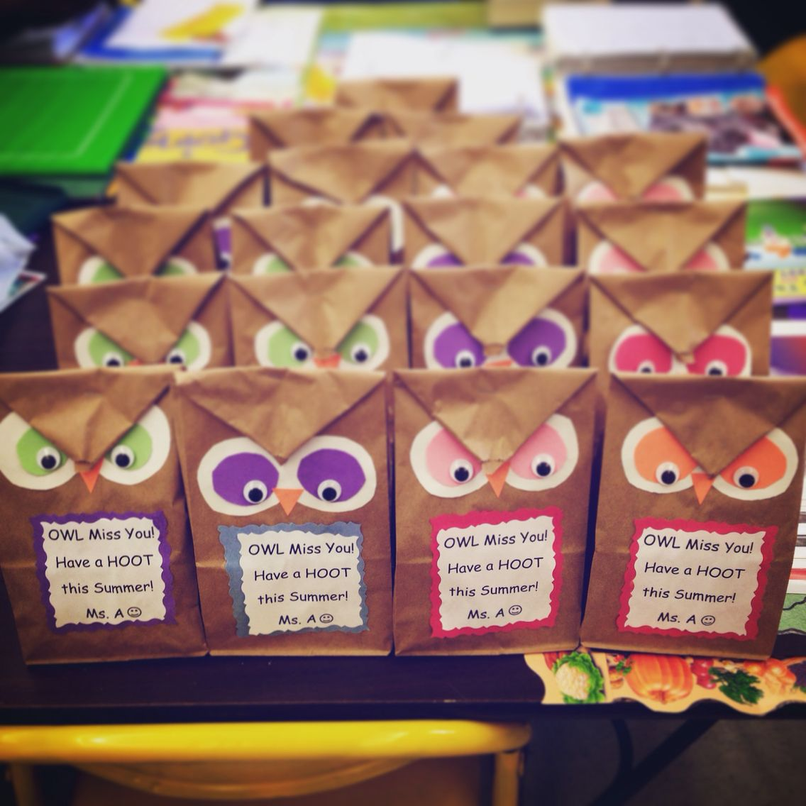 Classroom Gift Ideas For Students ~ Owl miss you end of the year goodie bags i filled them