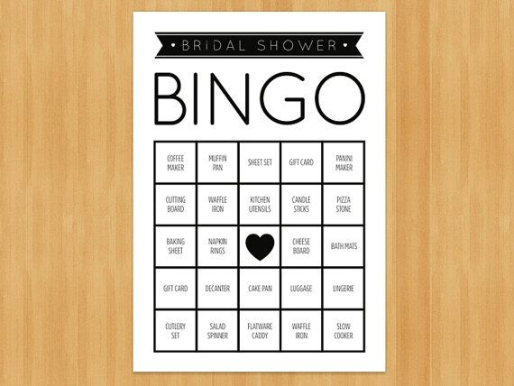 printable bridal shower bingo game 60 cards in set diy instant download printable pdf black and white