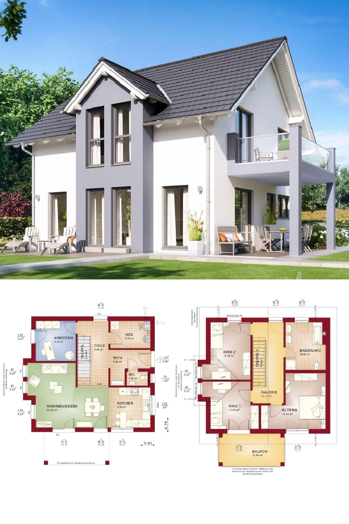 Satteldach-Haus Modern Mit Erker Und Balkon