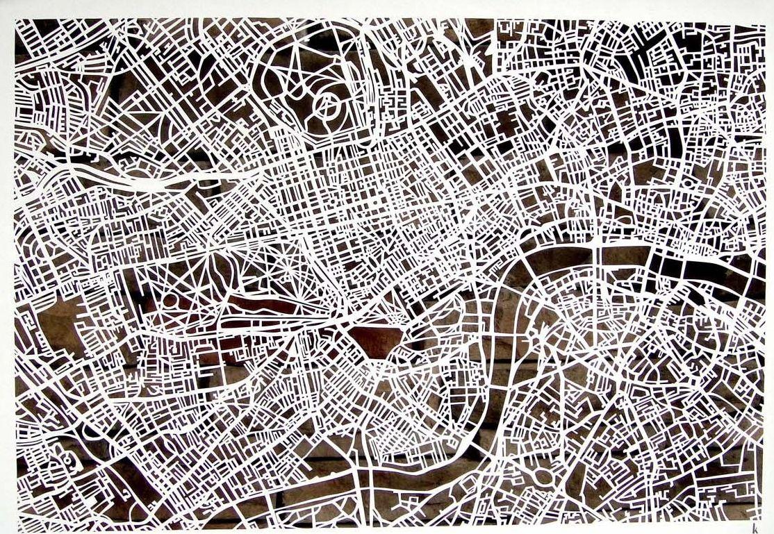 Karen Ou0027Leary London hand cut map Karen Ou0027Leary