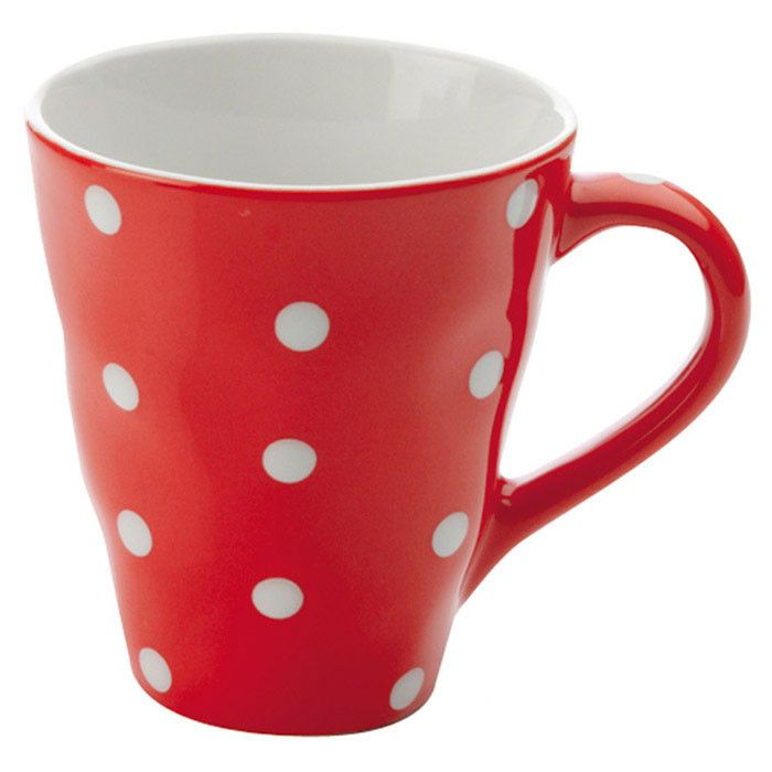 red mug with white dots~ | I want this... | Pinterest | Tabletop ...