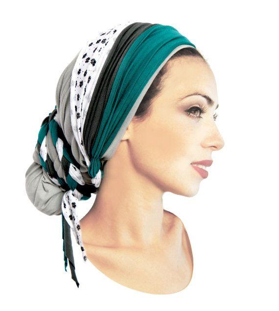 Gray Head Scarf Boho Chich Pre Tied Bandana Head Scarves ...