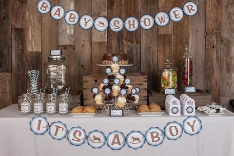 Baby Shower Decorations - IT'S A BOY Baby Shower Banner - Blue Rocking Horse Baby Shower Decorations in Blue and Brown - Get The Party Started