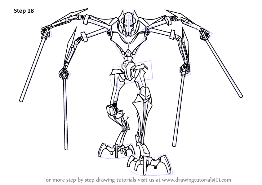 Step By Step How To Draw Grievous From Star Wars Drawingtutorials101 Com Star Wars Drawings Star Wars Art Drawings Star Wars Art