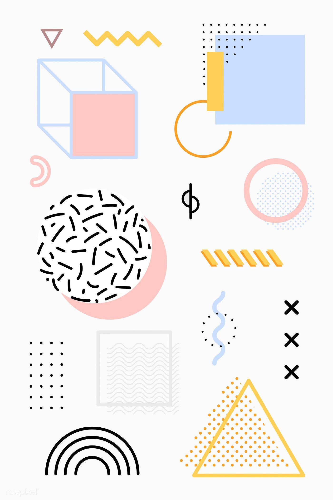 Download premium illustration of Pastel Memphis design