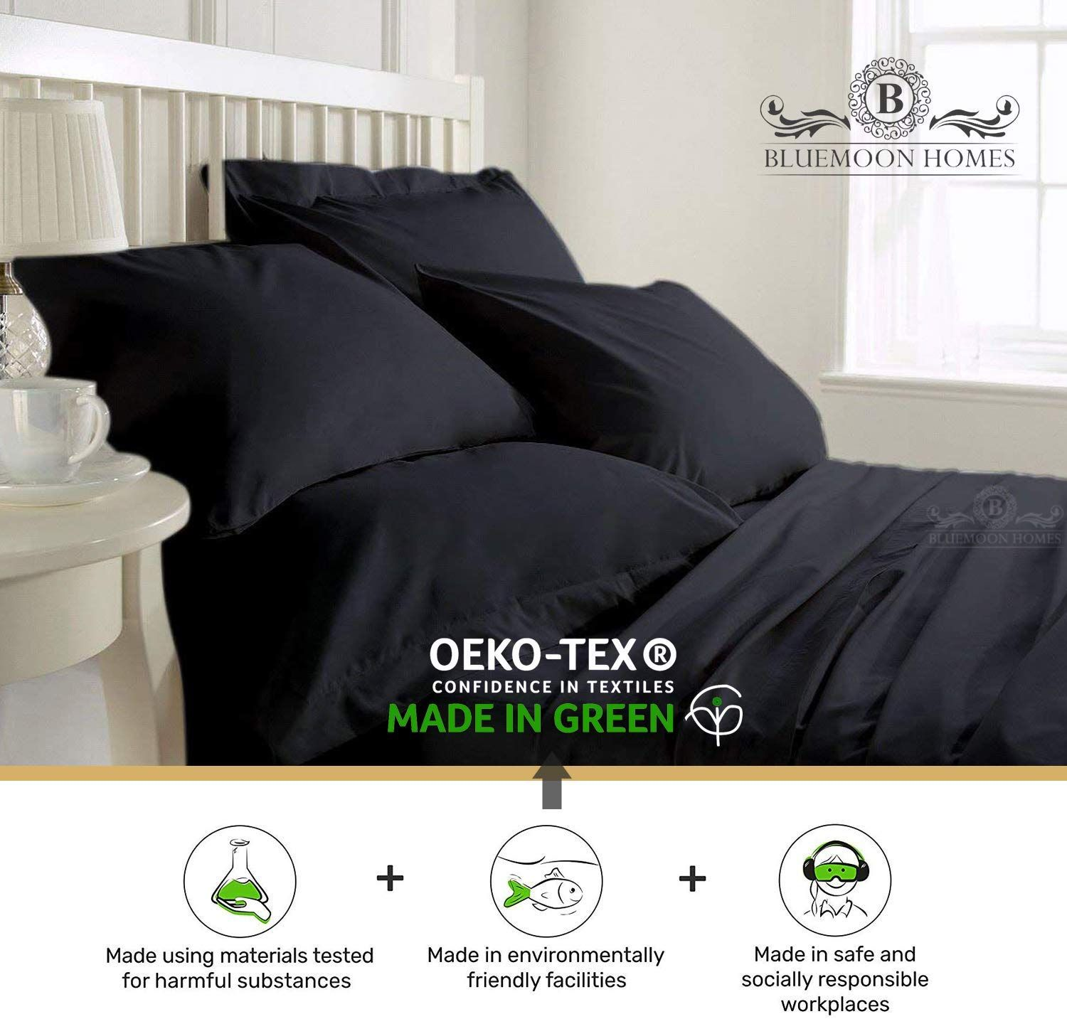 Black Solid All Bedding Items 1000 Thread Count 100/%Egyptian Cotton US Sizes