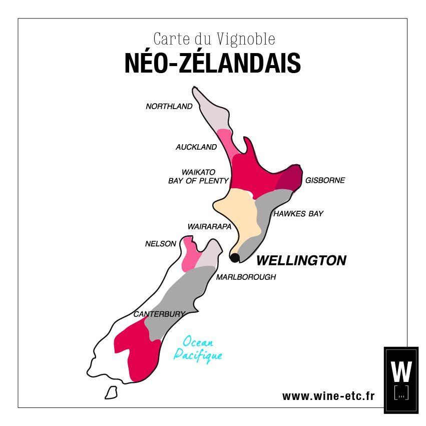 Carte Du Vignoble De Nouvelle Zelande Carte Vin Wine Vignoble