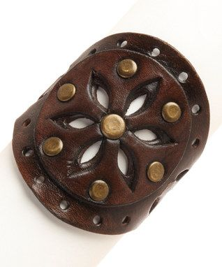 Brown Star Dust Leather Cuff