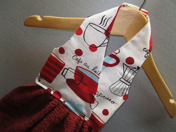 Handdoek Ophangen Keuken : Hanging dish towel red coffee cups hand pinterest keukens