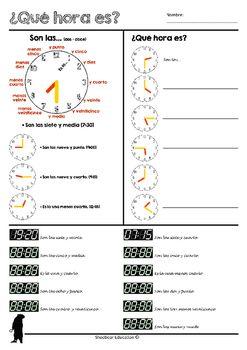 Qué hora es? (Telling time-worksheet in Spanish)   En español, por ...