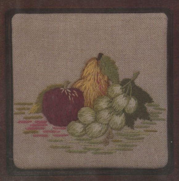 """Apples, Pears, Grapes Crewel Kit from Custom House: This Crewel Embroidery Kit includes a pre-printed 100% linen canvas, yarn and needles as well as detailed instructions. Please note: embroidery hoop is not included. Design size: 5"""" square Regular price is $10.00.  On sale at 40% off for $6.00 $6.00"""