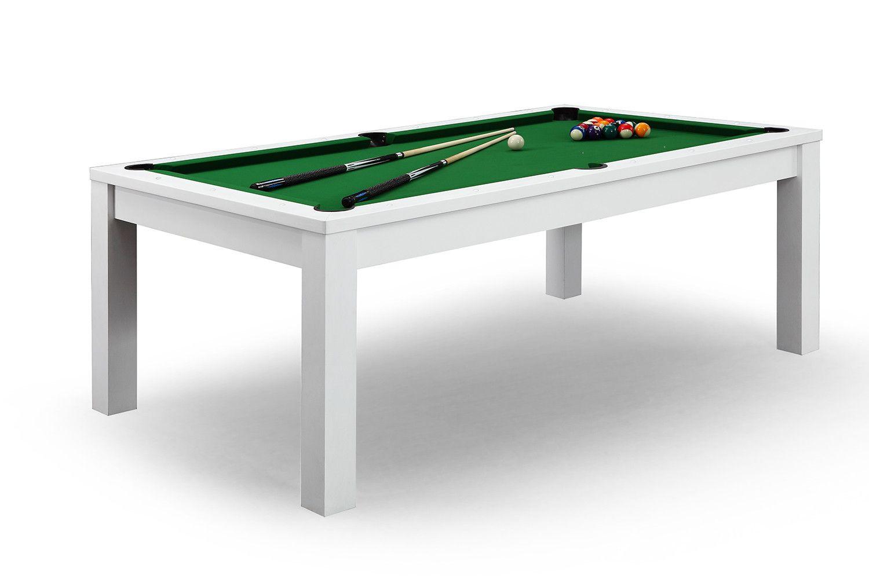 billard convertible en table à manger - blanc | tapis vert, billard