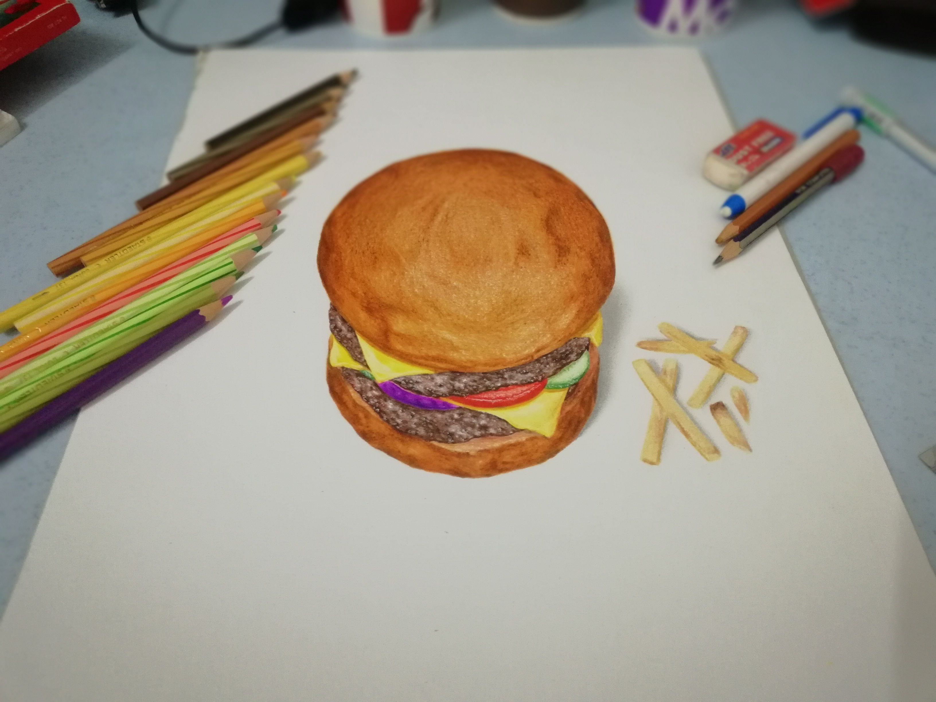 3D Burger Drawing on A3 by Kaeious Ooi 3D Burger drawing by Kaeious Ooi with french fries Instagram Kaeiousart FaceBook Kaeious Ooi