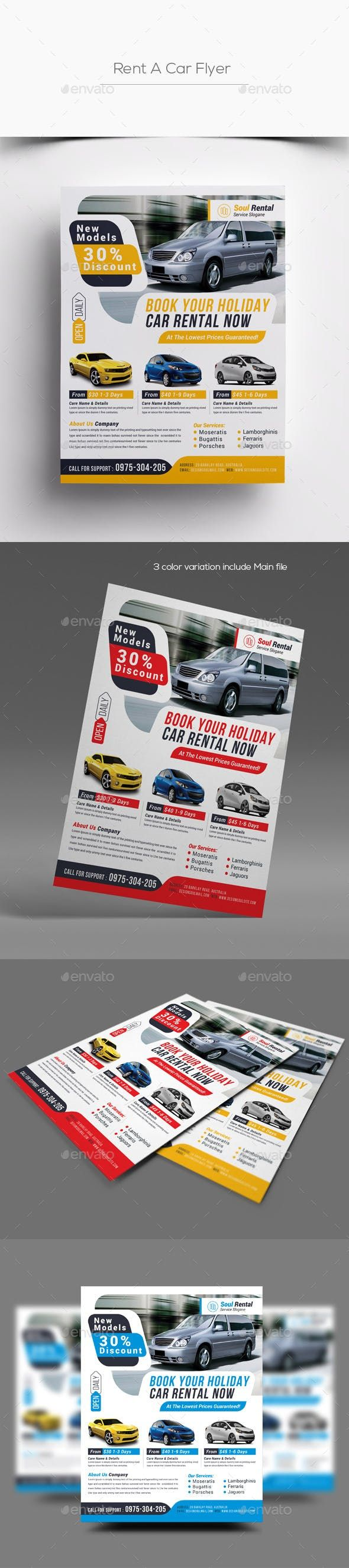 Rent A Car Flyer  U2014 Photoshop Psd  Business  Automobile