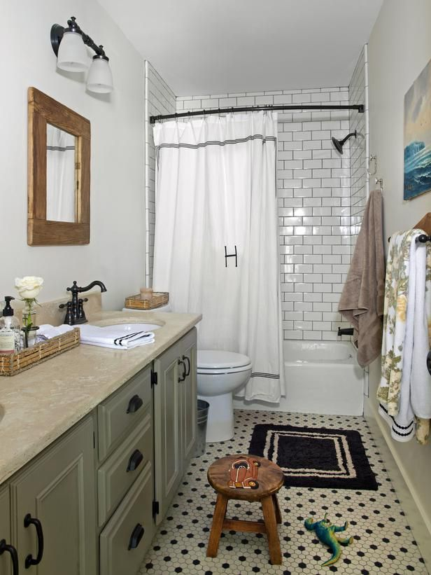 Bathroom Subway Tile Dark Grout vintage bathroom look: hexagon tile floor and subway tile with