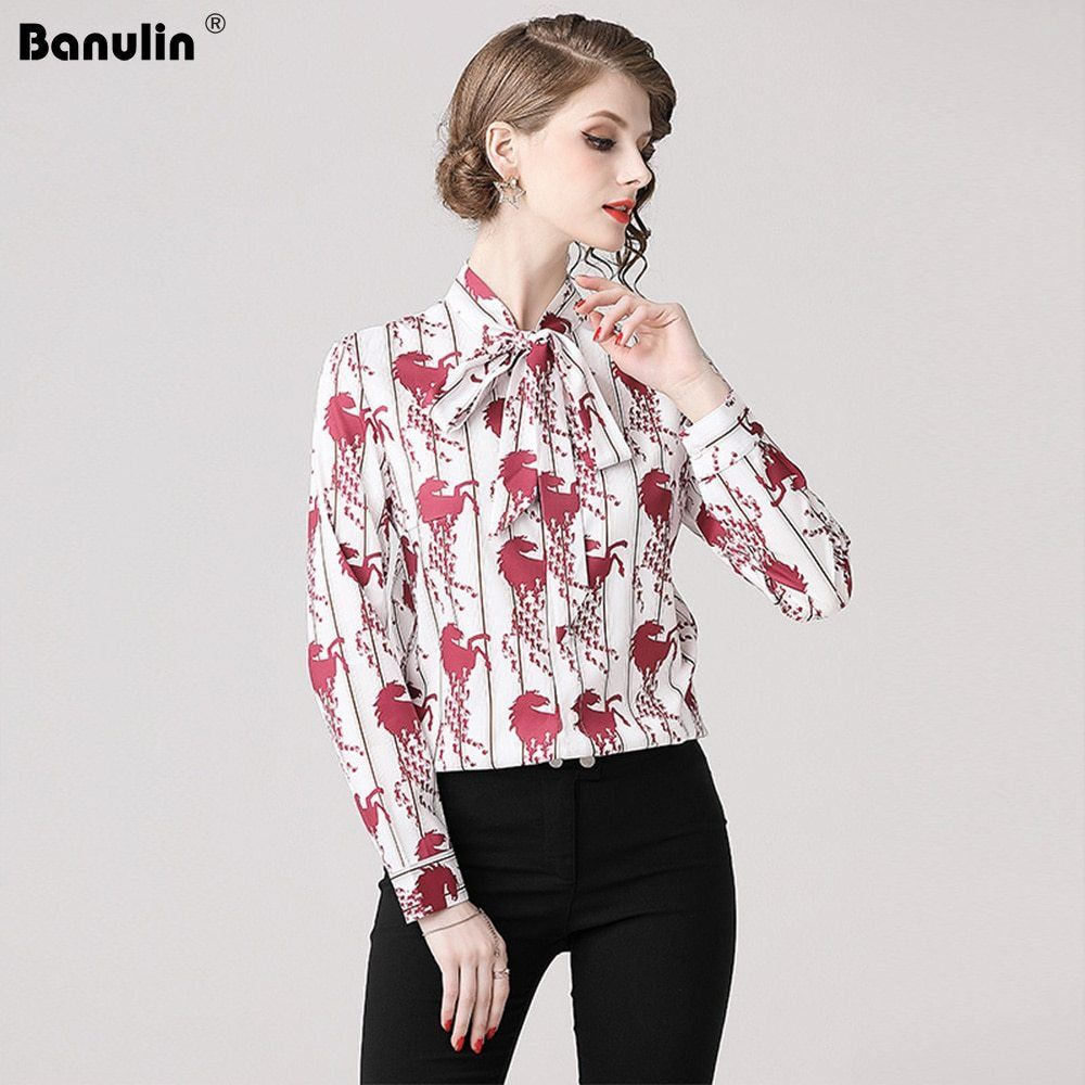 77e3d21a4 2019 Spring Long Sleeve Shirt Women Designer Runway Tops Print Vintage  Blouses Ladies Office Shirts Casual
