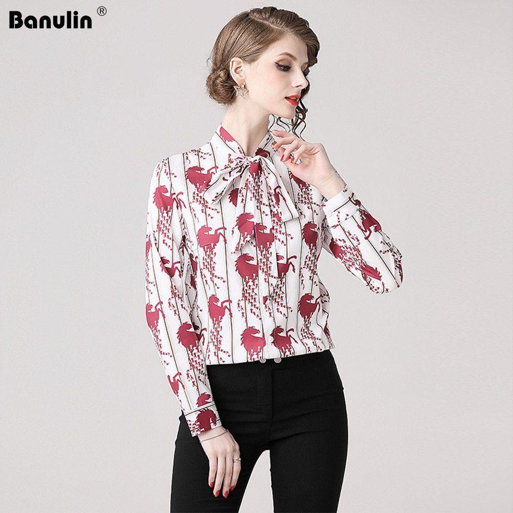 7118ff7fe02 2019 Spring Long Sleeve Shirt Women Designer Runway Tops Print ...