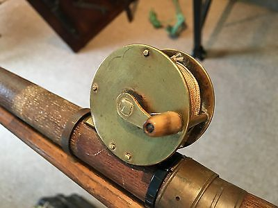 Antique 1800s Wood Fishing Rod Brass Reel Old Sporting Tackle Home